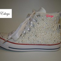 Pearl Crystal Converse Wedding Prom Sneakers
