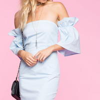 Poplin Off Shoulder Dress