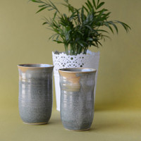 Ceramic Tumbler / Pottery Iced Tea Cup / Handmade / Gift for Friend / Set of 2 / 14 oz