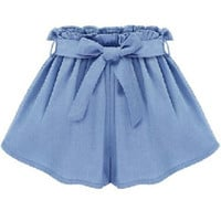 Blue Tie-waist Pleated Shorts