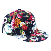 So'each Women's All Over Floral Print Flatbill Visor Snapback Cap Baseball Hat