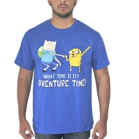 Adventure Time Finn and Jake Men's Blue T-Shirt What Time Is It?