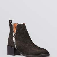 Jeffrey Campbell Pointed Toe Ankle Booties - Boone Embossed Cut Out Mid Heel