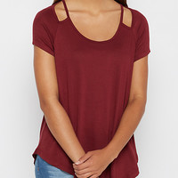 Burgundy Cut-Out Shoulder Tee