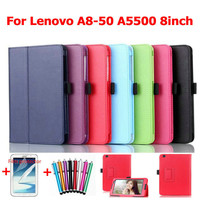 for lenovo A5500 8 inch tablet  leather case stand  folding super slim A8-50 cover +screen stylus pen as gift