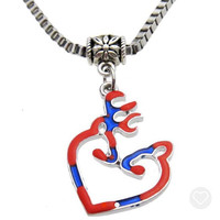 Deer Head Heart Rebel Flag Necklace