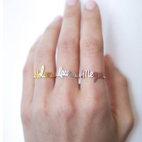 Statement Custom Name Ring Personalized Letters Initials Open Adjustable Rings Handmade Jewelry Bridesmaids Gifts For Women Men