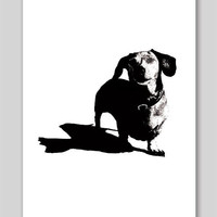 Dachshund hot dog black & white ink drawing Print  8.5 x 11 Holiday SALE 15% OFF