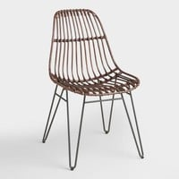 Rattan Flynn Hairpin Dining Chairs with Rustic Legs Set of 2