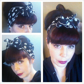 Black white Polka Dot Vintage Style Chiffon Hair Scarf Headwrap Hair Bow 1940s 1950s Rockabilly - Pin Up - For Women, Teens