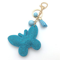 Fashion Rhinestone cute butterfly shape 4 color leather key chain Charm Pendant Crystal Purse Bag women Key Chain key rings Gift