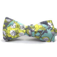 yellow grey turquoie, floral bowtie, grey yellow bowtie, mens bowtie, large print floral, pastel bowtie, yellow aqua blue and grey