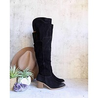 Final Sale - Over the Knee Vegan Suede Boots in Black