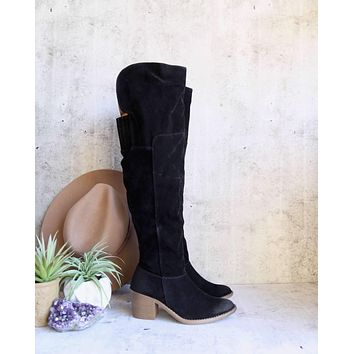 Over the Knee Vegan Suede Boots in Black