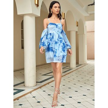 Cold Shoulder Lantern Sleeve Tie Dye Dress