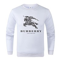 BURBERRY Popular Women Men Casual Print Round Collar Sweater Top White