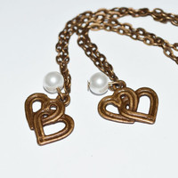 Best friends charm heart bracelet bronze white pearl bridal jewelry mother daughter Christmas gift