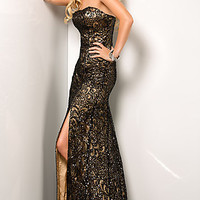 Black and Nude Strapless Prom Dress by Scala