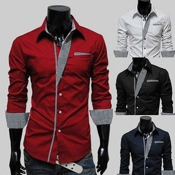 Mens Long Sleeve Formal Fitted Dress Shirts