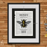 Honey Bee Art - Dictionary Art Print, Honey Bee Drawing, Animal Art, Bee Print, Honey Bee Home Decor, Kitchen Decor, Mother's Day Gift