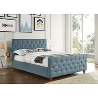 Juliette Chambray Upholstered Button Tufted Full Bed - 19528206 - Overstock - Great Deals on Beds - Mobile