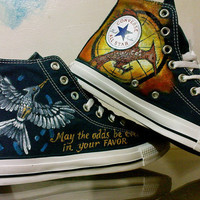 Mockingjay Hunger Game Inspired Hand Painted Converse Shoes High Top