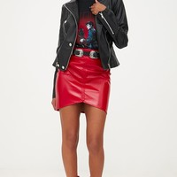 Black Military Button PU Biker Jacket