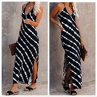 Black white Tie Dye side slit tank maxi dress