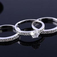 Three Piece Anile Silver Plated CZ Wedding Ring Set