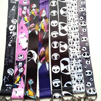 5 pcs Nightmare Before Christmas Keychain Lanyard ID Badge Holders Cartoon  Phone Neck Straps With Keyring DH-1