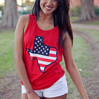 Texas American Flag Red White & Blue Tank Top - Red