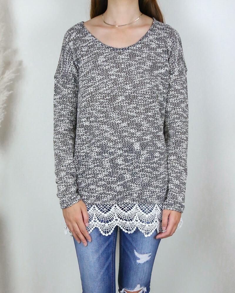Image of All Lace on Me Sweater Tunic in Grey