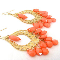 Coral Pink Chandelier Earrings, Peach Earrings, Peach and Gold, Dangle, Lightweight, Beach Jewelry, More Color Choices, Gift for her, td1