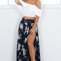 Breath Of Fresh Air maxi skirt in navy floral Produced By SHOWPO