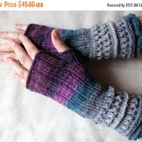 Purple Fingerless Gloves Knit Gloves Winter Gloves Violet Burgundy Gray Green Long Fingerless Gloves