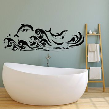 Vinyl Wall Decal Dolphins Sea Waves Marine Style For Bathroom Stickers (2284ig)