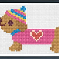 Dachshunds Cross Stitch, Dachshunds Pattern, Dogs Cross Stitch, Needlepoint, Dog Pattern, Dachshunds, Dogs by AprilBeeShop on Etsy