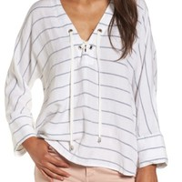 Rails Lily Lace-Up Blouse | Nordstrom