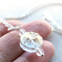 Winter Crystal Necklace, Unique Faceted Crystal, Diamond Cut, Christmas Gift, Fine Sterling Silver Chain, Frozen Clear Crystal Frosted Beads