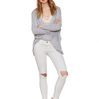 White Ripped Details Skinny Jeans