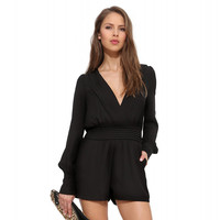 V-neck Long Sleeve Pleated Romper