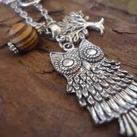 ROOT WOOD OWL long, delicate chain with tree and owl