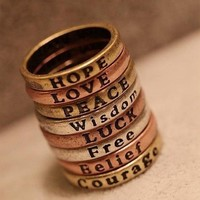 Meaningful Word Ring from P.S. I Love You More Boutique