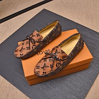 LV Louis Vuitton Men's Leather Loafers Shoes