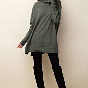 oversized turtle-neck top with slit