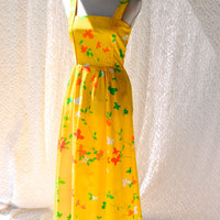 Handmade Vintage Sundress/ Mod Long Yellow Sundress. Hawaiian Hippie Maxi. Boho FullLength Butterfly Dress. Summer Hippie Festival / small