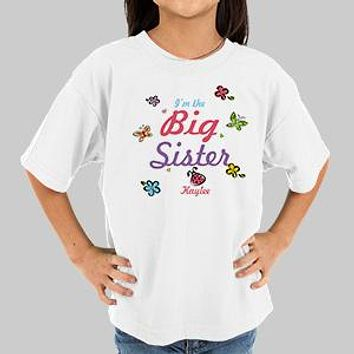 Butterfly and Flowers Personalized Big Sister T-shirt