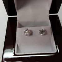 1.25 Carat H SI3 Diamond Earrings 14k White Gold Setting Jewelry Fine Make Anniversary Fashion Collection Quality Rare Fine Quality Must See