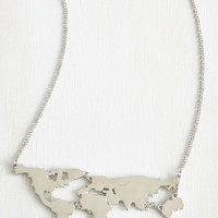 Travel, Statement, Quirky, Scholastic There's a Map for That Necklace in Silver by ModCloth