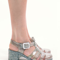 Silver Glitter Jelly Shoes